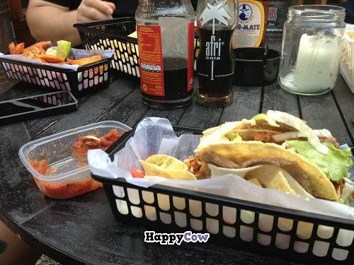 "Photo of Atacolypse Food Truck  by <a href=""/members/profile/vegan_ryan"">vegan_ryan</a> <br/>Double-decker tacos, mild salsa to the left, and Tijuana fries in the upper corner <br/> July 24, 2013  - <a href='/contact/abuse/image/27202/52050'>Report</a>"