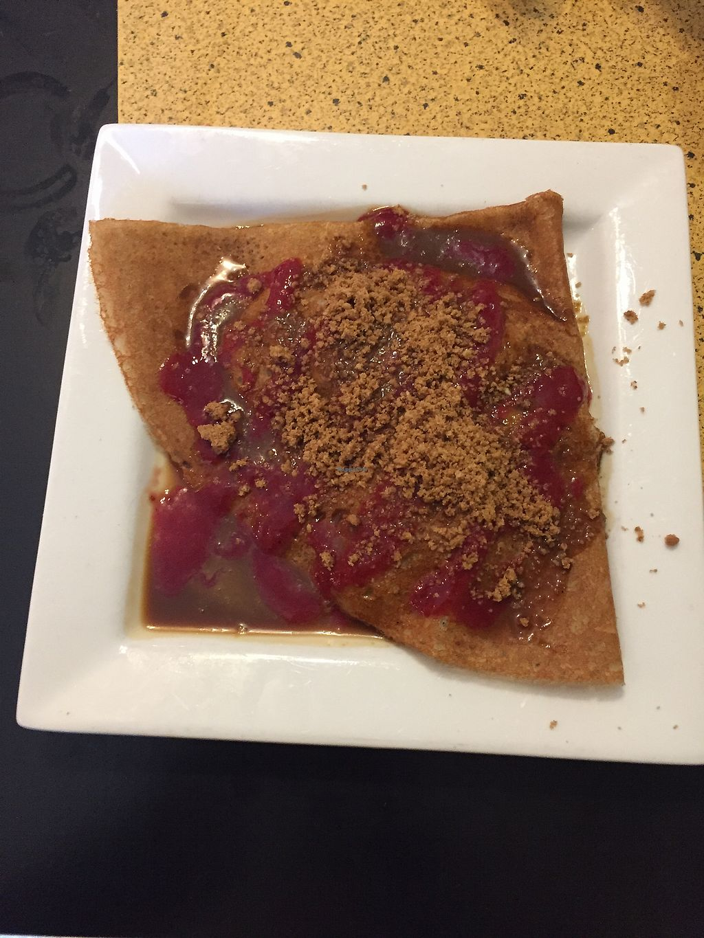 """Photo of Chez Elle  by <a href=""""/members/profile/alexis17"""">alexis17</a> <br/>Apple crisp vegan crepe with raspberry and coconut caramel topping <br/> December 18, 2017  - <a href='/contact/abuse/image/27241/337043'>Report</a>"""