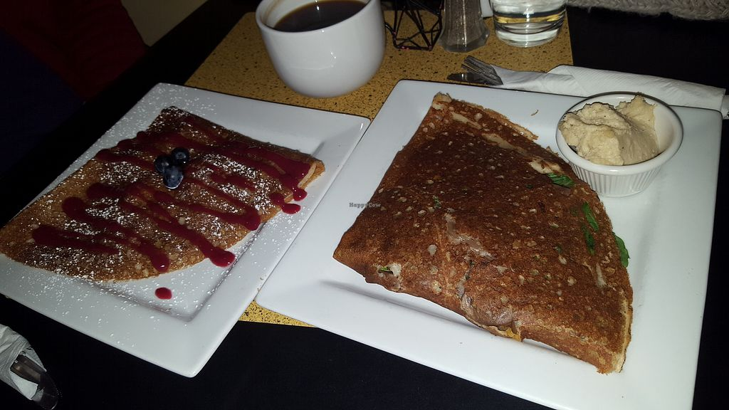 """Photo of Chez Elle  by <a href=""""/members/profile/spunkiVeg"""">spunkiVeg</a> <br/>Vegan sweet crepe = strawberry/banana Vegan savory crepe = mushroom, spinach, vegan cheese, and added potato  <br/> January 1, 2018  - <a href='/contact/abuse/image/27241/341736'>Report</a>"""