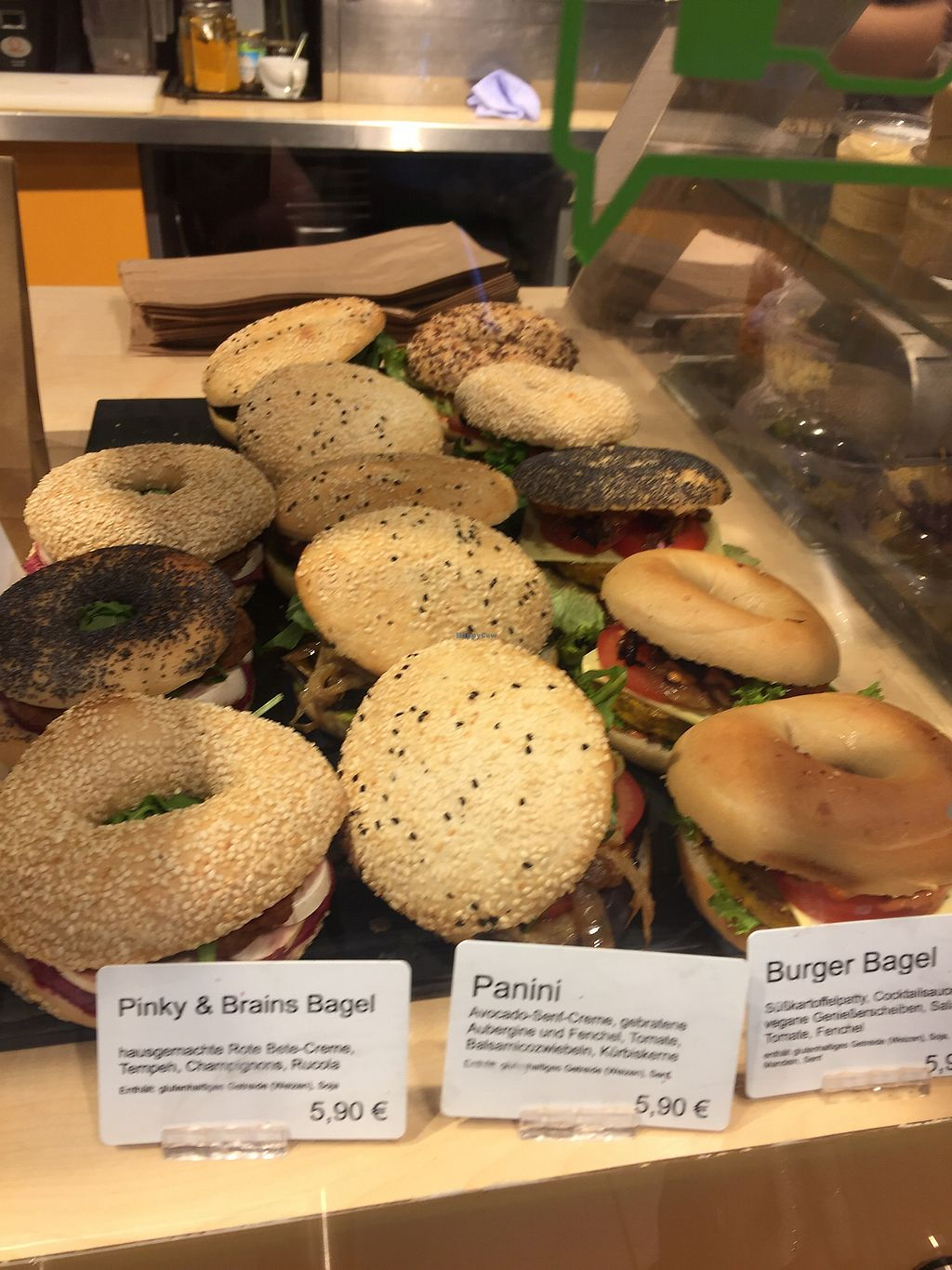 """Photo of Goodies Cafe - Veganz Schivelbeiner Str  by <a href=""""/members/profile/lapev"""">lapev</a> <br/>Great selection of bagels  <br/> November 5, 2017  - <a href='/contact/abuse/image/27316/322198'>Report</a>"""