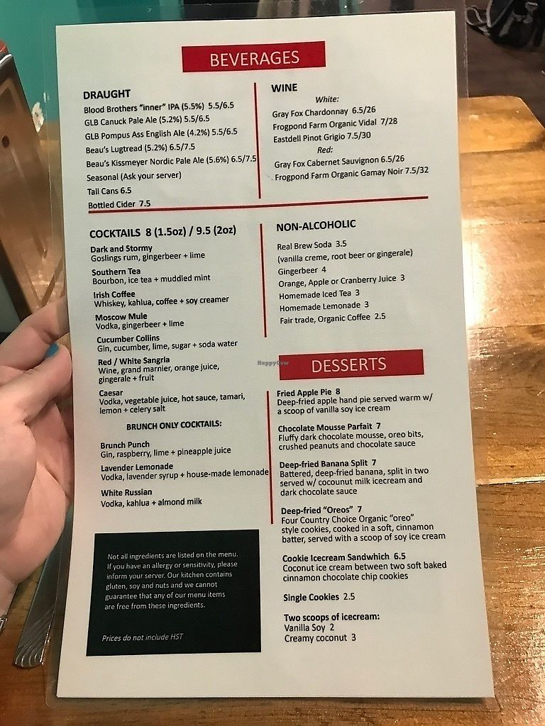"""Photo of The Hogtown Vegan  by <a href=""""/members/profile/Drhannahj"""">Drhannahj</a> <br/>Menu <br/> September 8, 2017  - <a href='/contact/abuse/image/27318/301935'>Report</a>"""