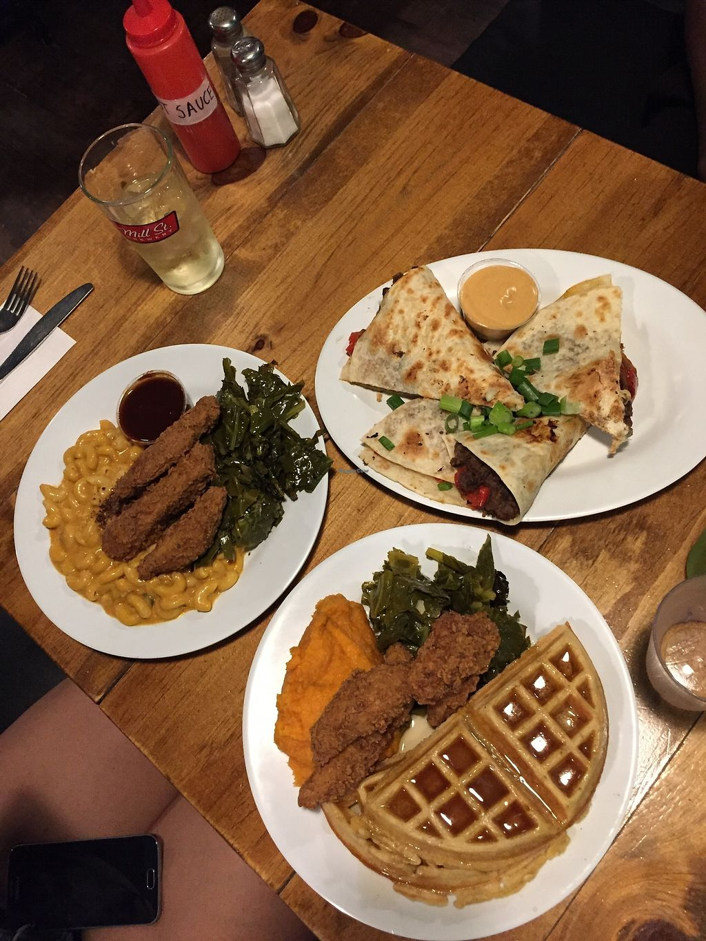 """Photo of The Hogtown Vegan  by <a href=""""/members/profile/Yasminesan"""">Yasminesan</a> <br/>Chicken n waffles, quesedilla, chicken and mac n cheese <br/> October 28, 2017  - <a href='/contact/abuse/image/27318/319648'>Report</a>"""