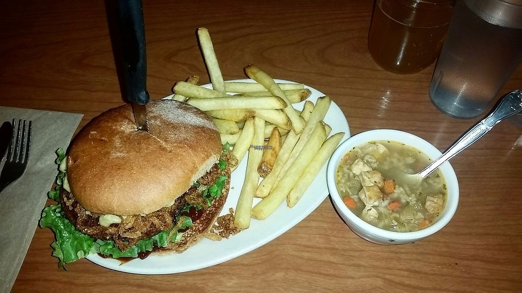 """Photo of Cornbread Cafe  by <a href=""""/members/profile/CorissaMarie"""">CorissaMarie</a> <br/>The nights special. Burger included mac  uncheese and onion straws! <br/> January 14, 2017  - <a href='/contact/abuse/image/27352/211984'>Report</a>"""