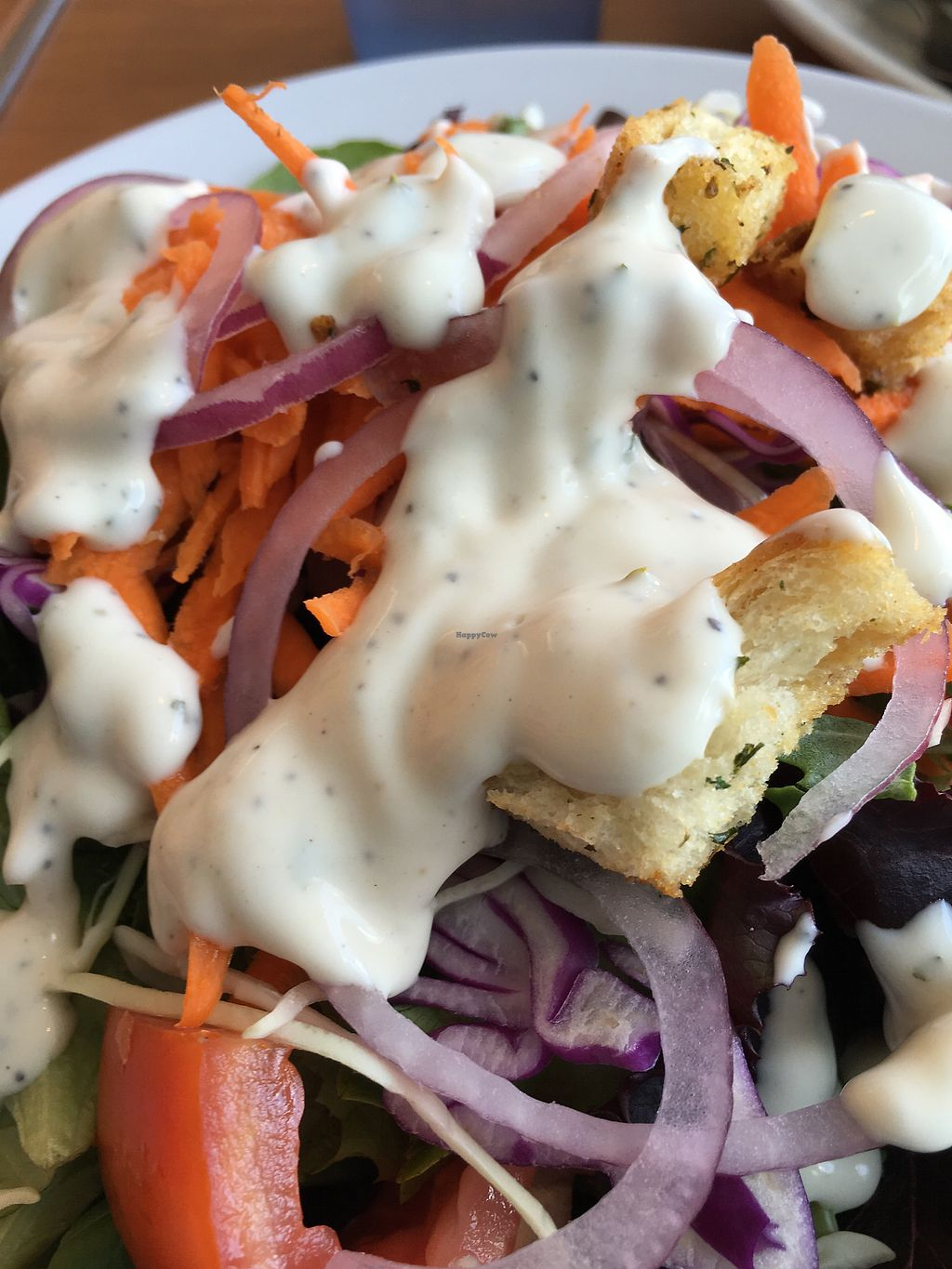 """Photo of Cornbread Cafe  by <a href=""""/members/profile/Veg4Jay"""">Veg4Jay</a> <br/>Salad with Ranch <br/> August 5, 2017  - <a href='/contact/abuse/image/27352/289392'>Report</a>"""