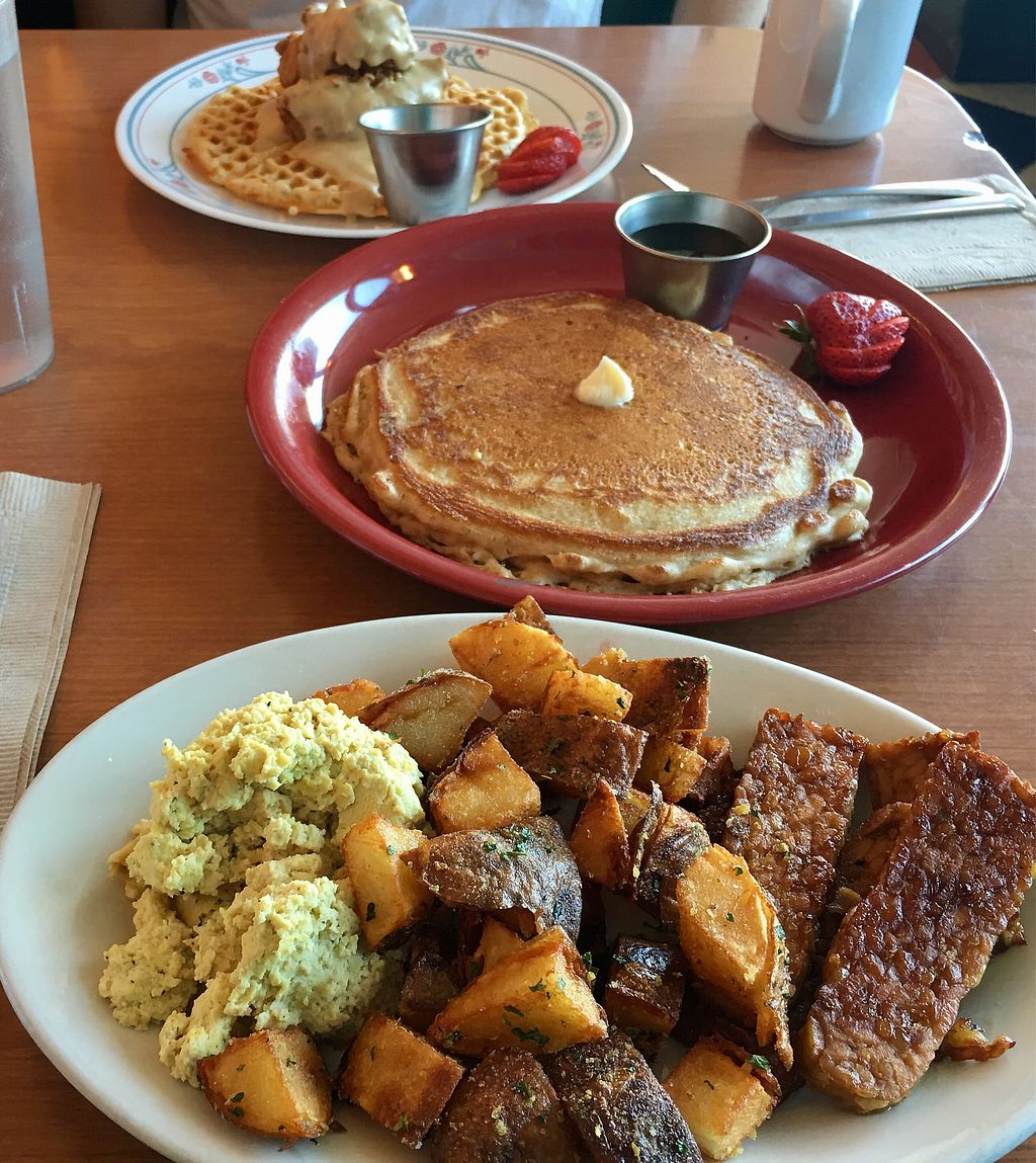 """Photo of Cornbread Cafe  by <a href=""""/members/profile/JackyBucio"""">JackyBucio</a> <br/>Classic breakfast and chik'n & waffle dish  <br/> August 17, 2017  - <a href='/contact/abuse/image/27352/293394'>Report</a>"""