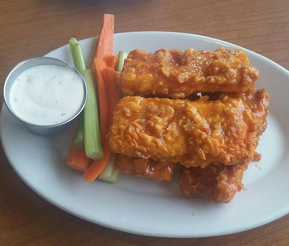 """Photo of Cornbread Cafe  by <a href=""""/members/profile/CorissaMarie"""">CorissaMarie</a> <br/>Spicy tofu wings  <br/> October 18, 2017  - <a href='/contact/abuse/image/27352/316373'>Report</a>"""