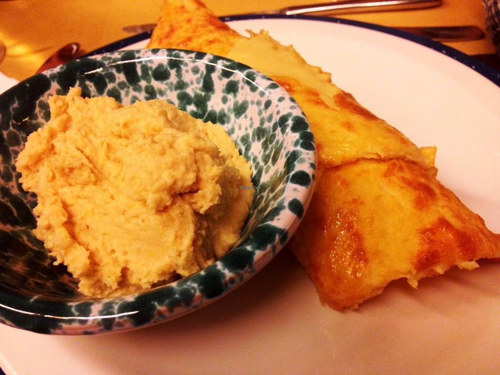 "Photo of 5 e Cinque  by <a href=""/members/profile/SueClesh"">SueClesh</a> <br/>hummus with savory chickpea pancake socca <br/> January 5, 2014  - <a href='/contact/abuse/image/27358/61873'>Report</a>"