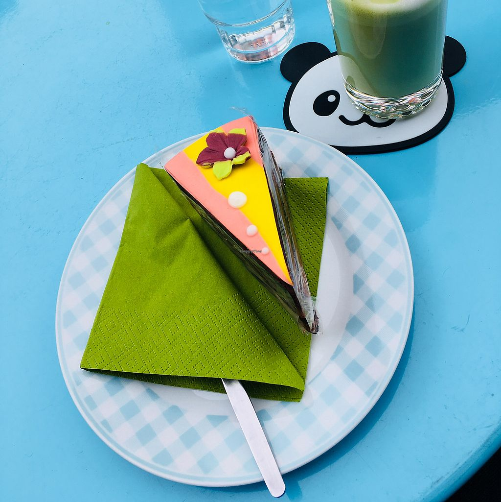 """Photo of Miyuko les Gourmandise  by <a href=""""/members/profile/xveganladyx"""">xveganladyx</a> <br/>Mango-Choco Cake vegan & Matchalatte with ricemilj <br/> September 30, 2017  - <a href='/contact/abuse/image/27378/310293'>Report</a>"""