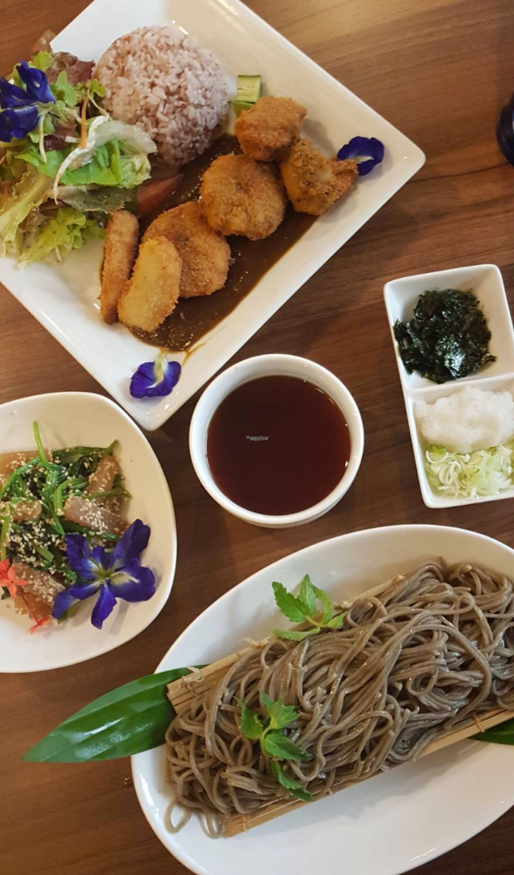 """Photo of Sustaina  by <a href=""""/members/profile/VeganCrush"""">VeganCrush</a> <br/>Soba Noodles with Spinach sesame salad and Curry with fried Veggie Nuggets.  <br/> March 23, 2017  - <a href='/contact/abuse/image/27429/239896'>Report</a>"""