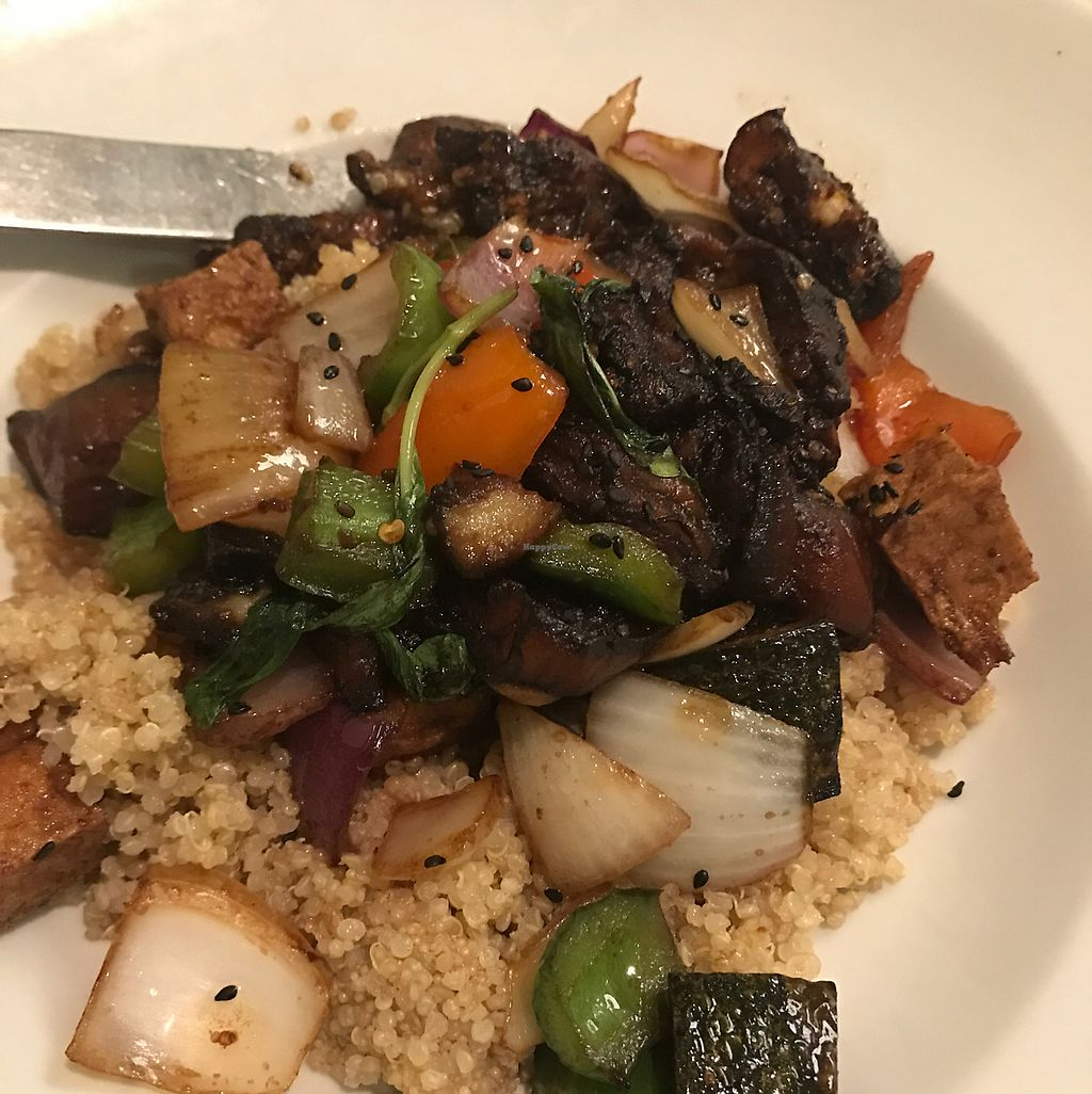 """Photo of Loving Hut  by <a href=""""/members/profile/vegangelo67"""">vegangelo67</a> <br/>menu described whole grain with eggplant...altered with soggy quinoa. maliciously prepared out of spite of manager  <br/> August 5, 2017  - <a href='/contact/abuse/image/27481/288926'>Report</a>"""