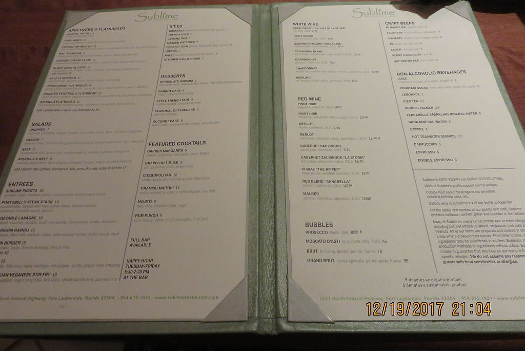 "Photo of Sublime Restaurant and Bar  by <a href=""/members/profile/tracyrocks"">tracyrocks</a> <br/>menu <br/> March 21, 2018  - <a href='/contact/abuse/image/2749/373957'>Report</a>"