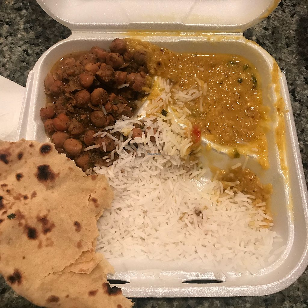 "Photo of India Fresh  by <a href=""/members/profile/michellebae"">michellebae</a> <br/>Chick pea masala, and lentils with vegan naan  <br/> February 9, 2018  - <a href='/contact/abuse/image/27512/356650'>Report</a>"