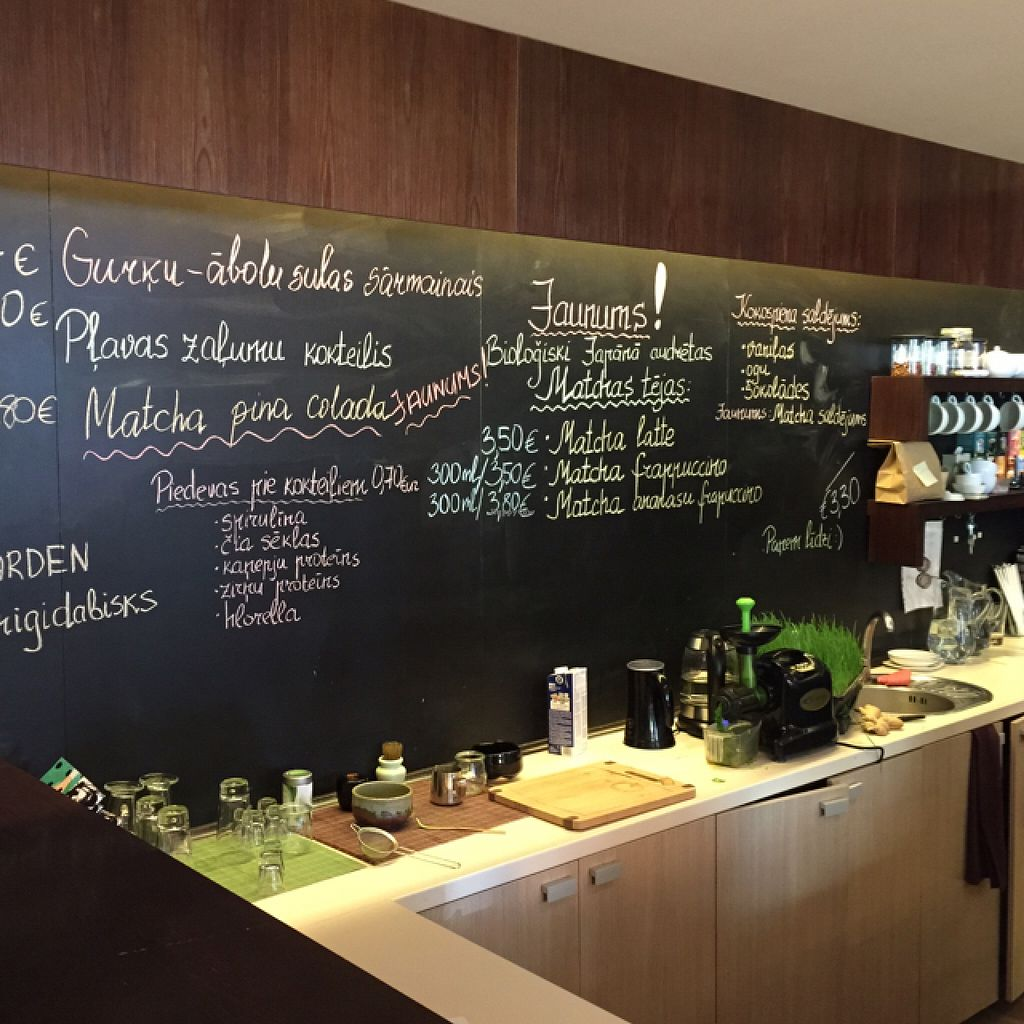 """Photo of The Beginnings - Skolas  by <a href=""""/members/profile/TheEverydayVegan"""">TheEverydayVegan</a> <br/>menu board and wheat grass press <br/> August 11, 2015  - <a href='/contact/abuse/image/27538/113193'>Report</a>"""