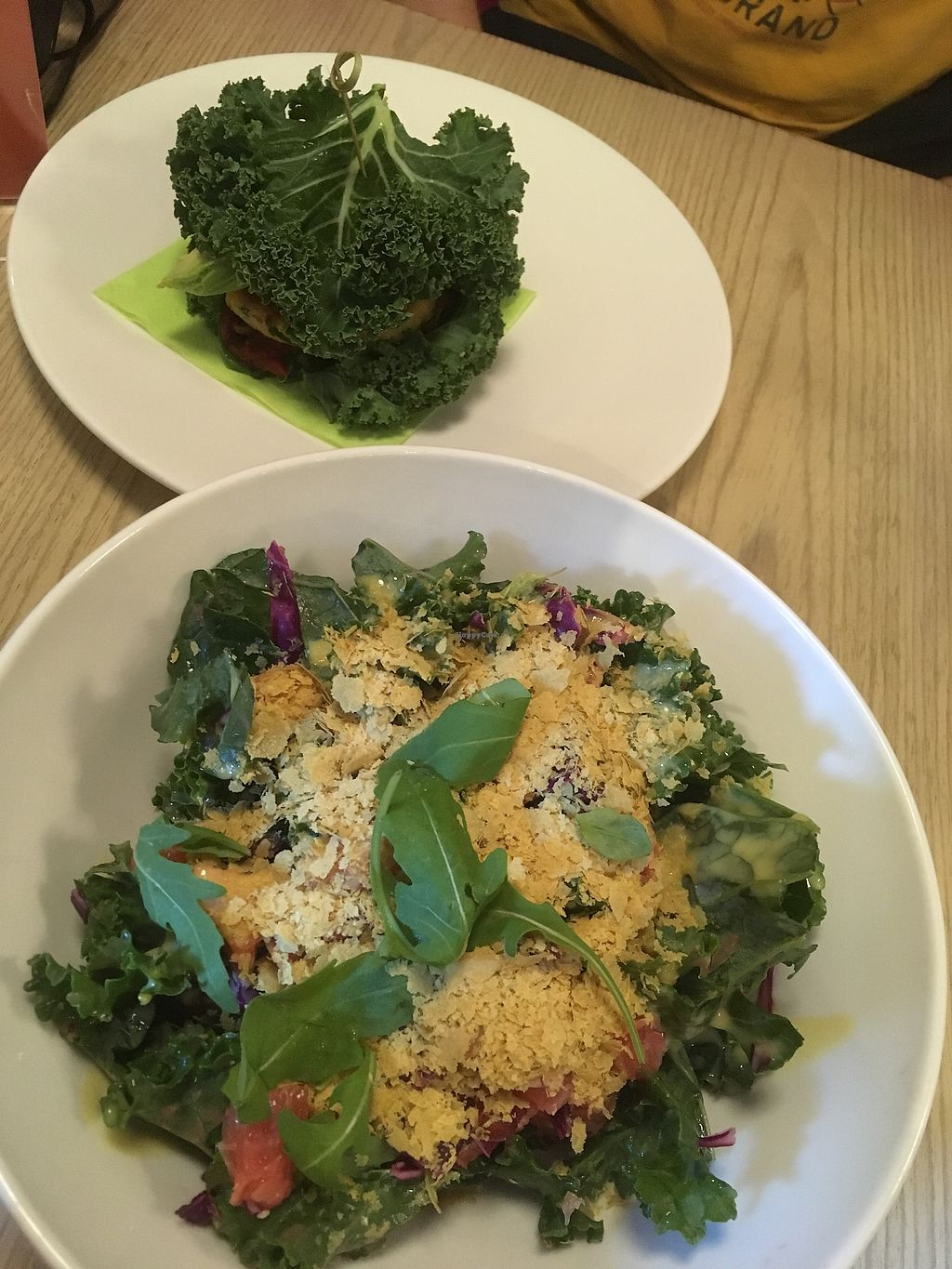 """Photo of The Beginnings - Skolas  by <a href=""""/members/profile/SuzyJones"""">SuzyJones</a> <br/>burger in leaves, kale and grapefruit  <br/> August 12, 2017  - <a href='/contact/abuse/image/27538/291931'>Report</a>"""
