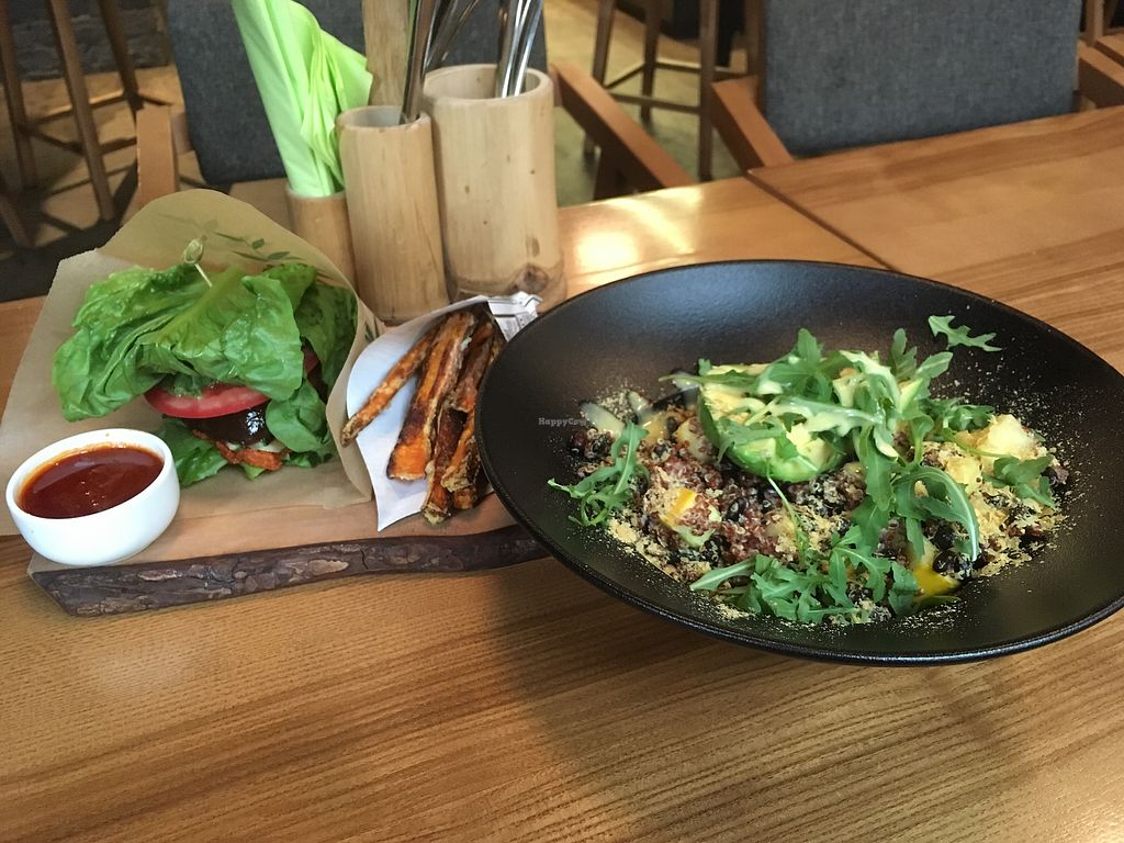 """Photo of The Beginnings - Skolas  by <a href=""""/members/profile/SuzyJones"""">SuzyJones</a> <br/>Quinoa bowl and tofu burger with sweet potato fries <br/> August 12, 2017  - <a href='/contact/abuse/image/27538/292043'>Report</a>"""