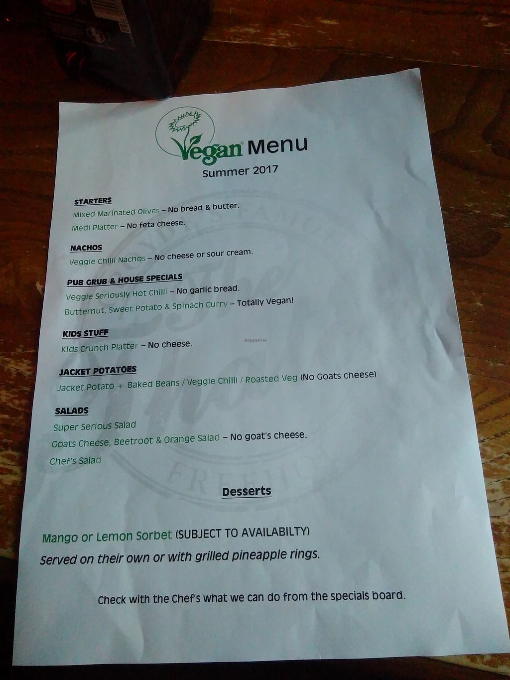 """Photo of Thatch  by <a href=""""/members/profile/starcide"""">starcide</a> <br/>New vegan menu  <br/> November 6, 2017  - <a href='/contact/abuse/image/27549/322435'>Report</a>"""