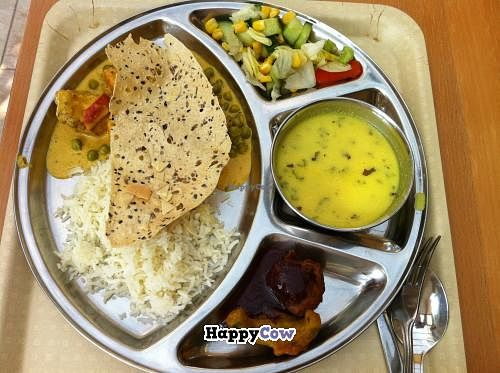 """Photo of Govinda's Restaurant  by <a href=""""/members/profile/Eli%20Rainbow"""">Eli Rainbow</a> <br/>The menu of the day at Govinda's (consisting of salad, soup, rice, sabji, pakoras, and papadam).  <br/> August 5, 2013  - <a href='/contact/abuse/image/27585/52768'>Report</a>"""