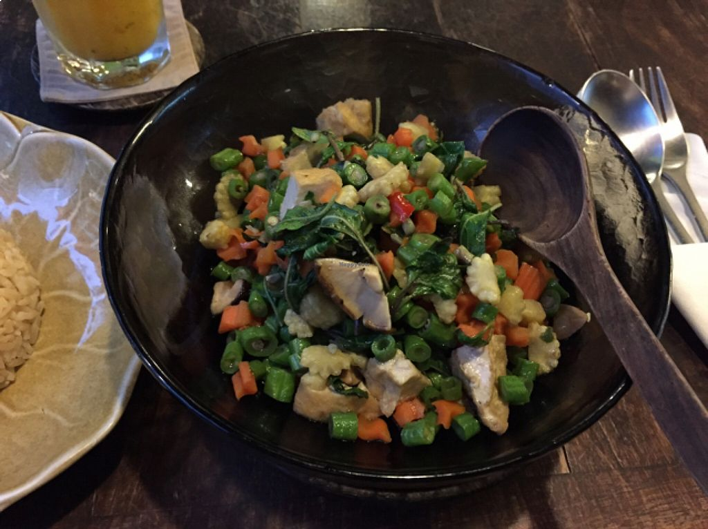 "Photo of Anotai  by <a href=""/members/profile/Jrosworld"">Jrosworld</a> <br/>Fresh vegetables and tofu, stir fried with chilli and basil, 145 baht <br/> August 24, 2015  - <a href='/contact/abuse/image/2766/114982'>Report</a>"