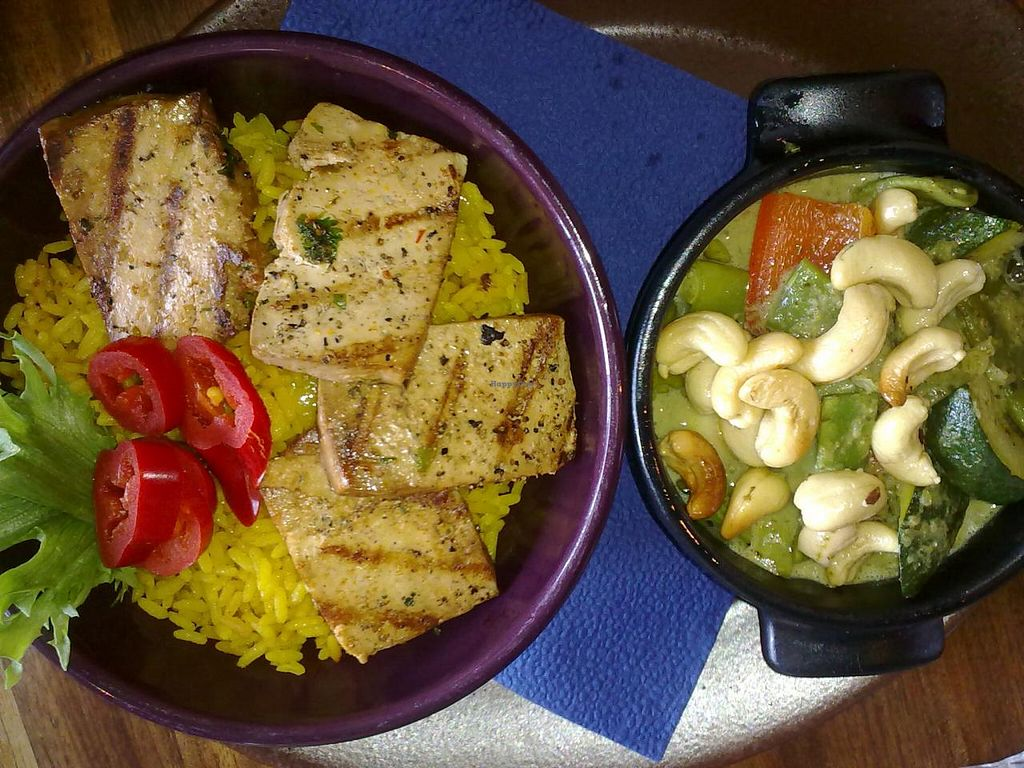 """Photo of Maya Bar and Grill  by <a href=""""/members/profile/Tanja%2A"""">Tanja*</a> <br/>Chili con tofu y coco. Grilled chili marinated tofu, coconut spinach sauce, roasted nuts and Annato rice <br/> April 11, 2014  - <a href='/contact/abuse/image/27675/67418'>Report</a>"""
