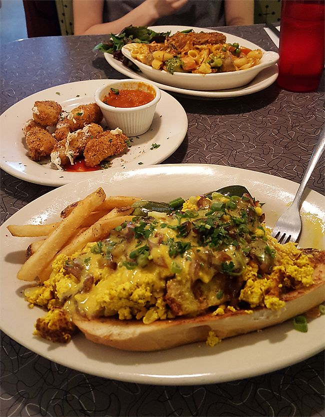 "Photo of Veggie Galaxy  by <a href=""/members/profile/Seiashun"">Seiashun</a> <br/>Vegan mac and cheese, vegan mozzarella sticks, tofu scramble over toasted bread <br/> October 14, 2017  - <a href='/contact/abuse/image/27722/315119'>Report</a>"