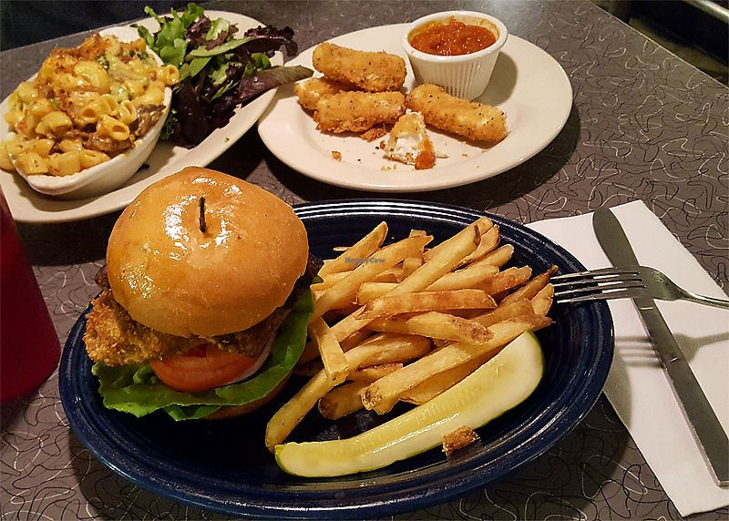 """Photo of Veggie Galaxy  by <a href=""""/members/profile/Seiashun"""">Seiashun</a> <br/>Vegan burger, fries, mac and cheese, moz sticks <br/> October 14, 2017  - <a href='/contact/abuse/image/27722/315120'>Report</a>"""