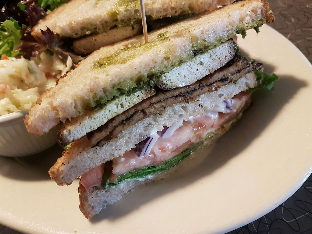 """Photo of Veggie Galaxy  by <a href=""""/members/profile/Mellow2bee"""">Mellow2bee</a> <br/>Club sandwich with seitan/tofu <br/> March 15, 2018  - <a href='/contact/abuse/image/27722/370962'>Report</a>"""