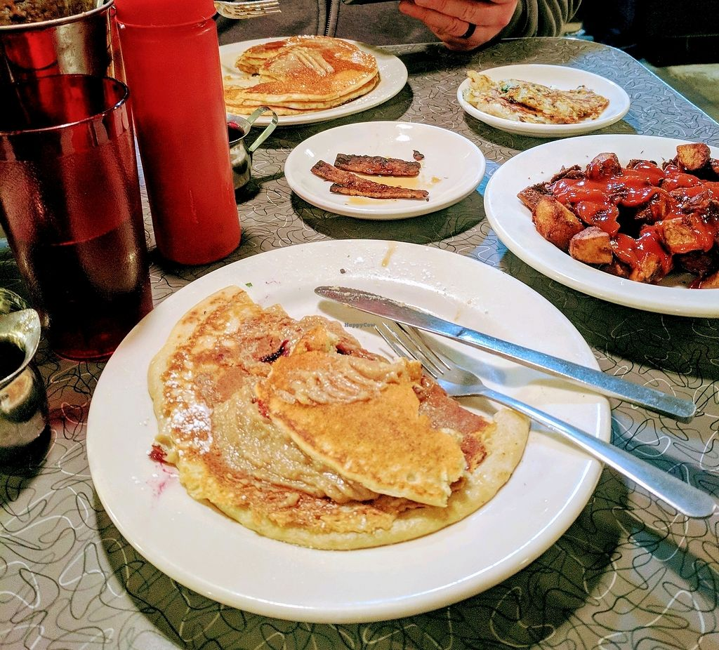 """Photo of Veggie Galaxy  by <a href=""""/members/profile/missmeliss_91"""">missmeliss_91</a> <br/>Gluten-free Blueberry Pancake, Home Fries, Bacon, Hash Brown's & Milkshake  <br/> March 31, 2018  - <a href='/contact/abuse/image/27722/378639'>Report</a>"""