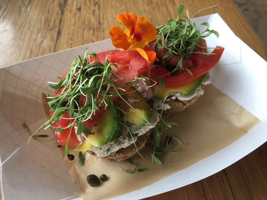 """Photo of Maui Kombucha  by <a href=""""/members/profile/KeriMattaliano"""">KeriMattaliano</a> <br/>Veggie bagel with cashew cheese, avacado, tomato and sprouts.  <br/> February 25, 2017  - <a href='/contact/abuse/image/27733/230461'>Report</a>"""