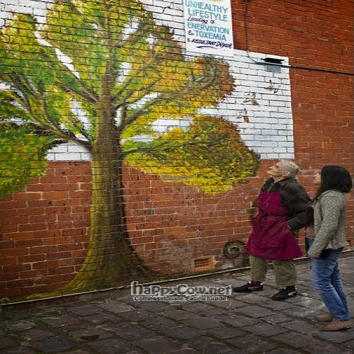"""Photo of CLOSED: Natural Health Supplies  by <a href=""""/members/profile/InnesPark"""">InnesPark</a> <br/>Bruce and Catalina inspect the new mural.. He is a patron of the arts, too! <br/> August 4, 2011  - <a href='/contact/abuse/image/27737/9946'>Report</a>"""