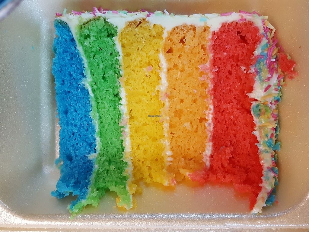 """Photo of Veggie Lounge  by <a href=""""/members/profile/sophiefp"""">sophiefp</a> <br/>vegan rainbow cake  <br/> July 11, 2017  - <a href='/contact/abuse/image/27845/279194'>Report</a>"""