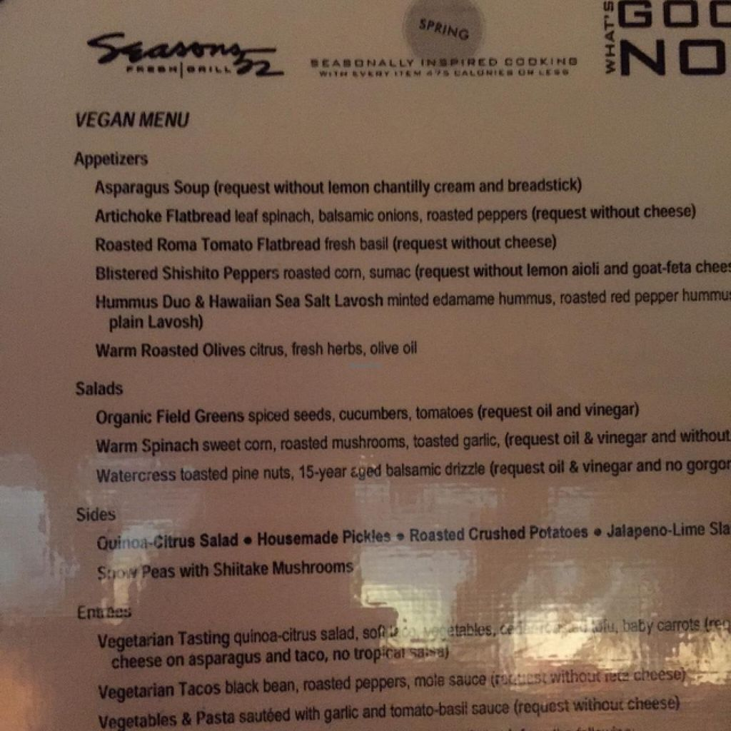 """Photo of Seasons 52  by <a href=""""/members/profile/Ellenkm"""">Ellenkm</a> <br/>be sure to ask for the vegan menu! <br/> April 11, 2015  - <a href='/contact/abuse/image/27864/98671'>Report</a>"""