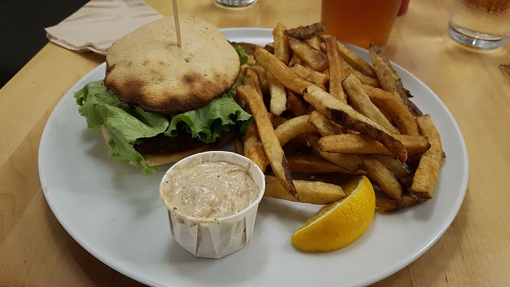 """Photo of Chez Victor - St Jean  by <a href=""""/members/profile/JonJon"""">JonJon</a> <br/>Vegan burger (Indian) <br/> July 28, 2017  - <a href='/contact/abuse/image/27892/285774'>Report</a>"""