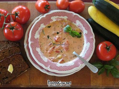 """Photo of Cafe Regis  by <a href=""""/members/profile/Gary%20Ferguson"""">Gary Ferguson</a> <br/>Tomato-basil soup, with fresh basil and zuchinni from the Cafe Regis organic gardens <br/> June 17, 2012  - <a href='/contact/abuse/image/27894/33431'>Report</a>"""