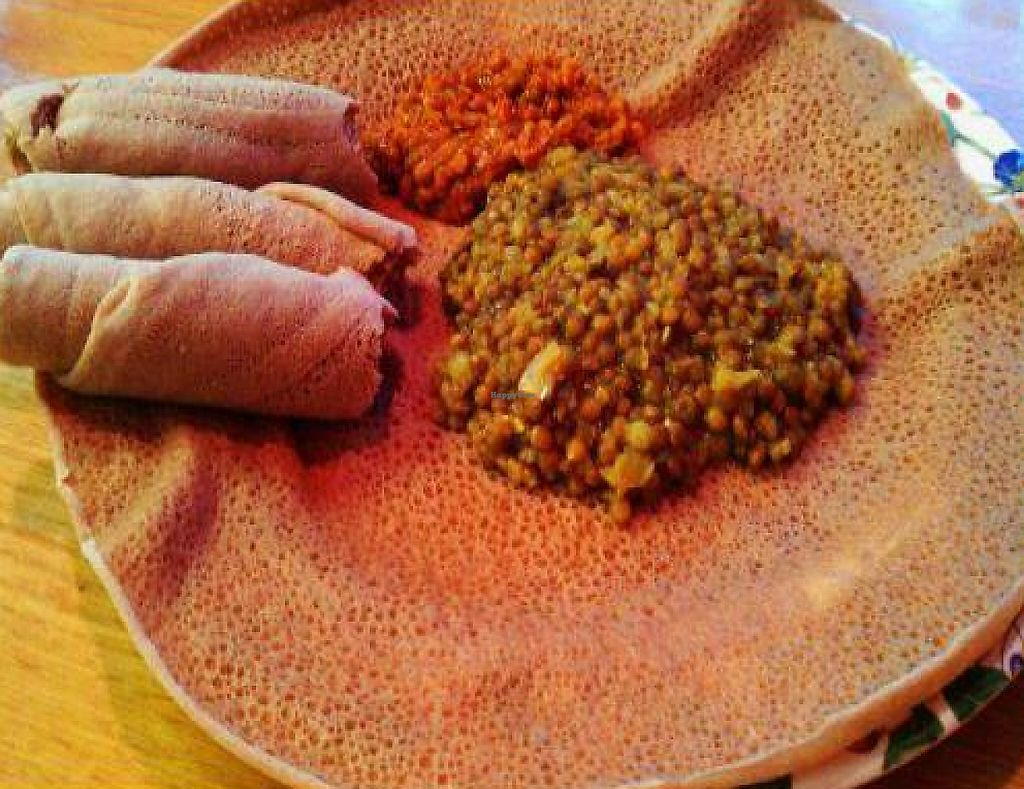 "Photo of Addis Grill  by <a href=""/members/profile/xsamx"">xsamx</a> <br/>Misir Alicha (lentils and injera) <br/> January 21, 2012  - <a href='/contact/abuse/image/27904/200712'>Report</a>"