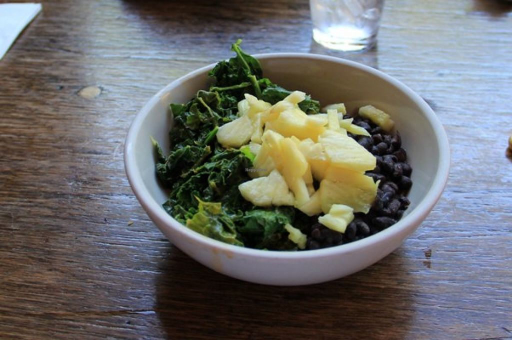 """Photo of Sweet Hereafter  by <a href=""""/members/profile/Julie%20R"""">Julie R</a> <br/>Coconut Kale, beans and brown rice (with pineapple) <br/> August 29, 2015  - <a href='/contact/abuse/image/27937/115667'>Report</a>"""