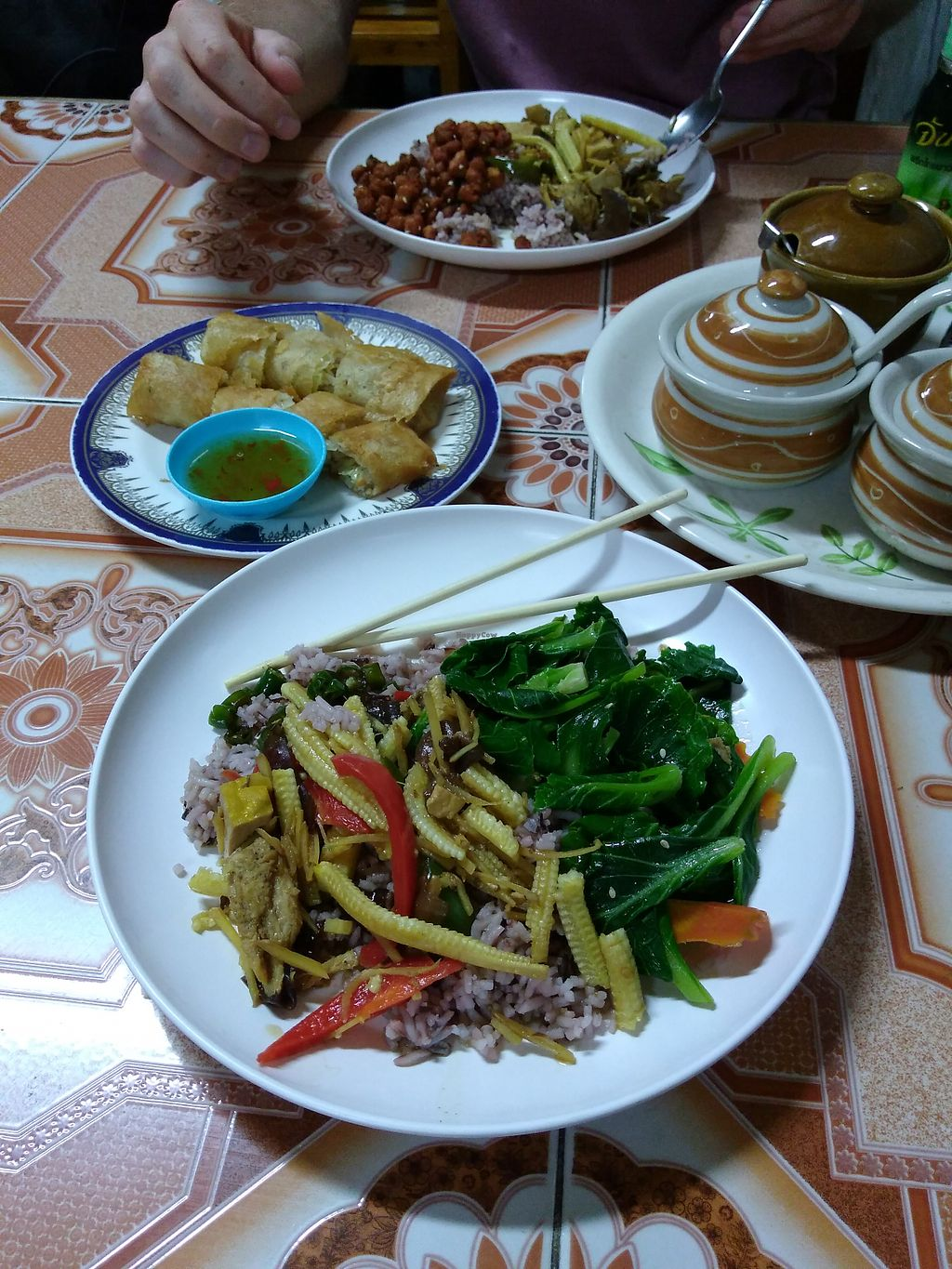 """Photo of Ming Kwan  by <a href=""""/members/profile/emzie1983"""">emzie1983</a> <br/>Lunch buffet rice with tofu&veg,and greens (30 baht), plus spring rolls (10 each) <br/> May 1, 2018  - <a href='/contact/abuse/image/28009/393428'>Report</a>"""