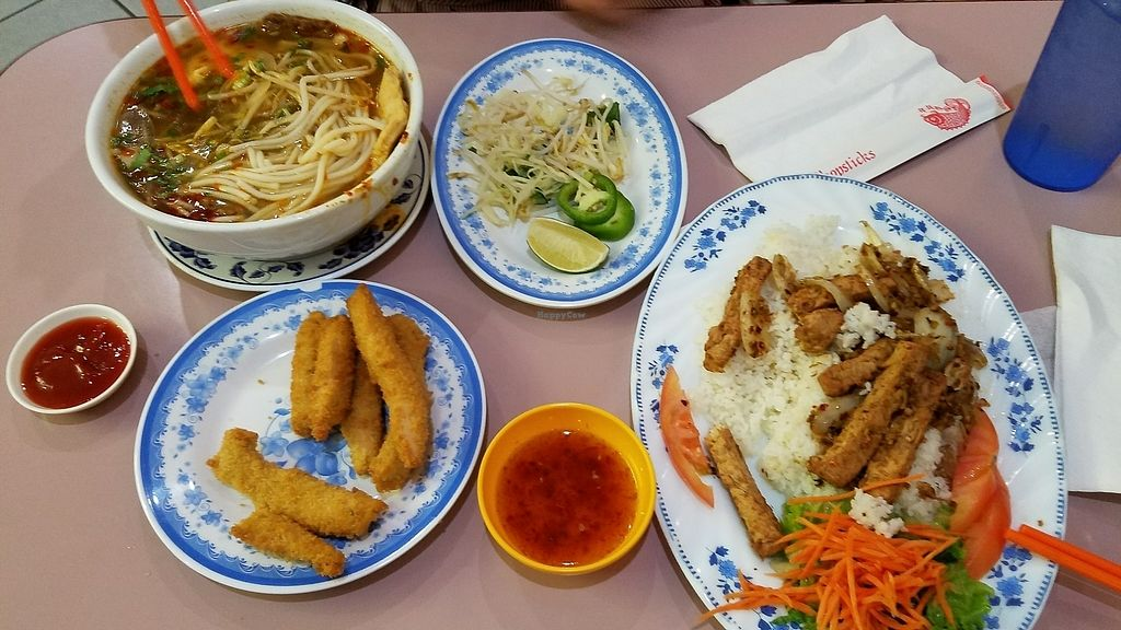 """Photo of D'Vegan  by <a href=""""/members/profile/TXRhody"""">TXRhody</a> <br/>joy noodle soup, crispy strips, and lemongrass rice <br/> July 9, 2017  - <a href='/contact/abuse/image/28073/278020'>Report</a>"""