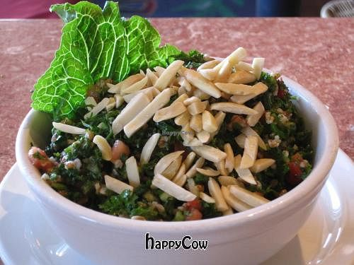 """Photo of Baladi Mediterranean Cafe  by <a href=""""/members/profile/baladi12"""">baladi12</a> <br/>Chopped parsley with organic cracked wheat, diced tomatoes, cucumbers, fresh mint, lemon-olive oil dressing and raw almonds <br/> October 4, 2012  - <a href='/contact/abuse/image/28140/38692'>Report</a>"""