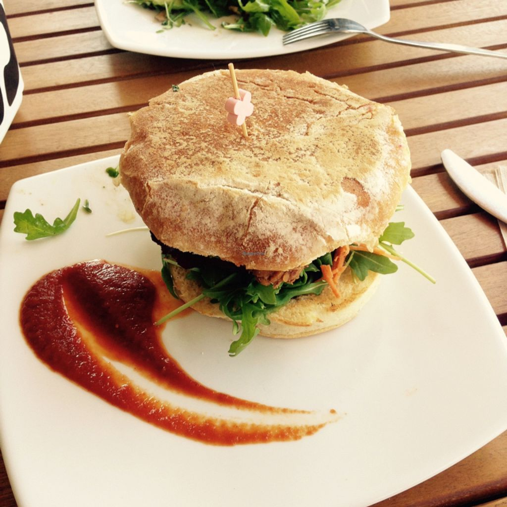 """Photo of Source Foods  by <a href=""""/members/profile/Misanthropia"""">Misanthropia</a> <br/>Tempeh Burger <br/> September 26, 2015  - <a href='/contact/abuse/image/28189/119165'>Report</a>"""