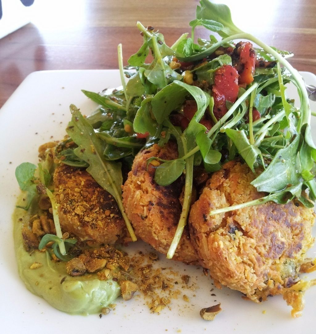 """Photo of Source Foods  by <a href=""""/members/profile/cseneque"""">cseneque</a> <br/>Sweet potato, coconut and lupin fritters with avocado puree and salad <br/> July 30, 2016  - <a href='/contact/abuse/image/28189/163290'>Report</a>"""