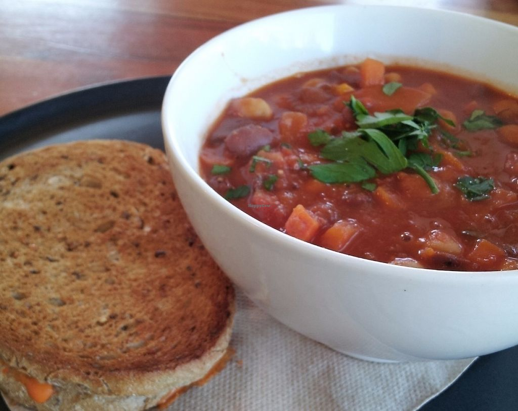 """Photo of Source Foods  by <a href=""""/members/profile/cseneque"""">cseneque</a> <br/>Hearty minestrone soup and vegan cheese toastie <br/> July 30, 2016  - <a href='/contact/abuse/image/28189/276257'>Report</a>"""