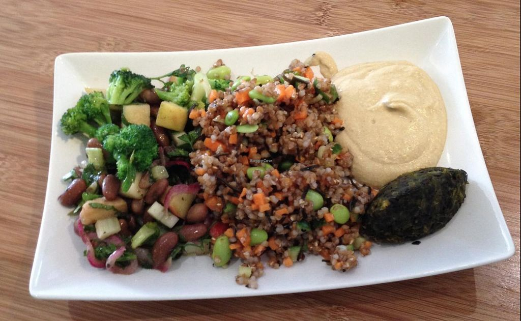 """Photo of CLOSED: Botaniq  by <a href=""""/members/profile/simmiefairy"""">simmiefairy</a> <br/>Plate 1 - two different salads, hummus and 1 raw falafel <br/> May 7, 2015  - <a href='/contact/abuse/image/28200/101519'>Report</a>"""