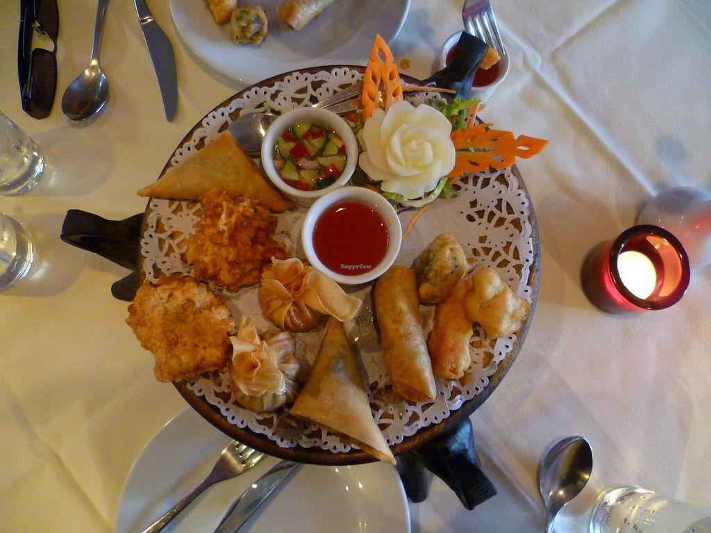 "Photo of Jasmine Thai Restaurant  by <a href=""/members/profile/dropscone"">dropscone</a> <br/>Starter platter (originally there were two of each item, I forgot to take a picture before we started helping ourselves!) <br/> July 12, 2014  - <a href='/contact/abuse/image/28220/73860'>Report</a>"