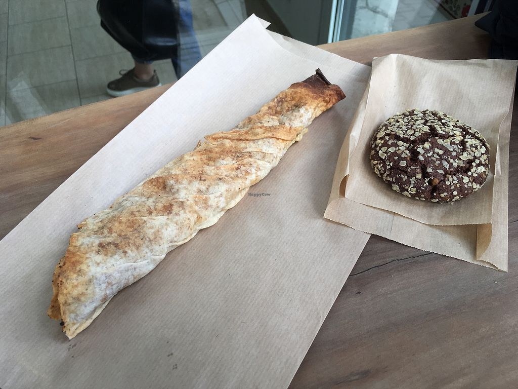 """Photo of Sunmoon Bakery - Gladston  by <a href=""""/members/profile/SuzyJones"""">SuzyJones</a> <br/>Chocolate cookie and tofu wrap <br/> March 29, 2018  - <a href='/contact/abuse/image/28241/377843'>Report</a>"""