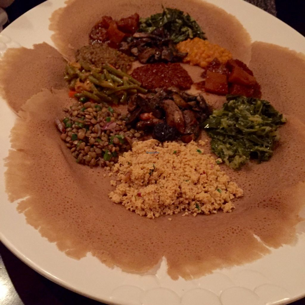 """Photo of Mesob Ethiopian Restaurant  by <a href=""""/members/profile/Ellenkm"""">Ellenkm</a> <br/>vegan sampler  <br/> March 19, 2016  - <a href='/contact/abuse/image/28271/140618'>Report</a>"""
