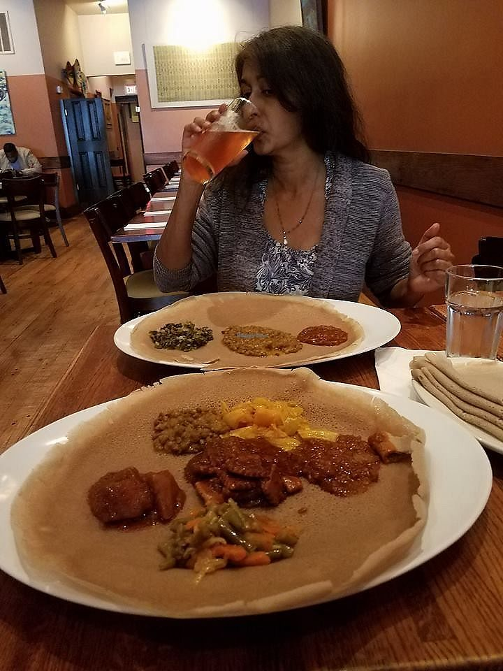 """Photo of Mesob Ethiopian Restaurant  by <a href=""""/members/profile/RobertWasilewski"""">RobertWasilewski</a> <br/>Our Meals, Lisa and I <br/> October 23, 2017  - <a href='/contact/abuse/image/28271/318053'>Report</a>"""