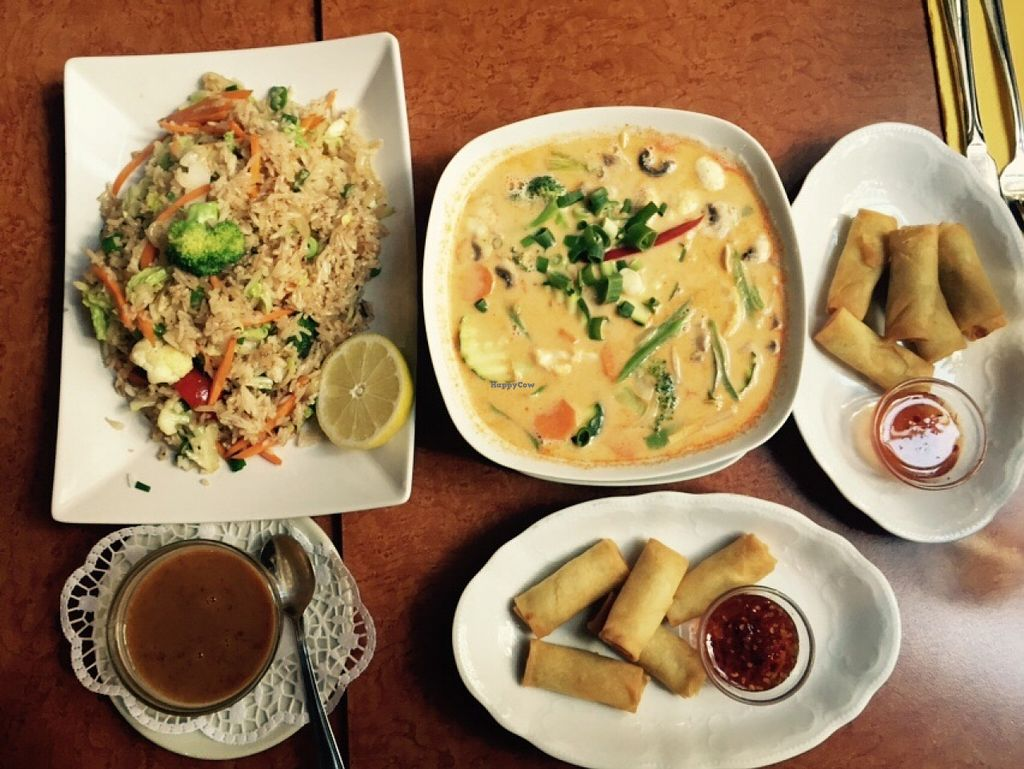 "Photo of Siam Thailandisches Spezialitaten  by <a href=""/members/profile/ToniWeber"">ToniWeber</a> <br/>Variety of spring rolls, soup and fried rice <br/> September 27, 2015  - <a href='/contact/abuse/image/28283/119375'>Report</a>"