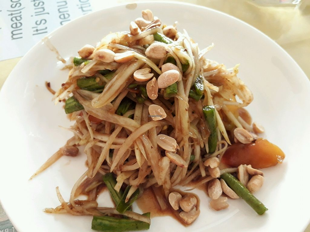 """Photo of Reunion Cafe  by <a href=""""/members/profile/LilacHippy"""">LilacHippy</a> <br/>Papaya Salad - only 10000 kip! <br/> December 19, 2017  - <a href='/contact/abuse/image/28301/337282'>Report</a>"""