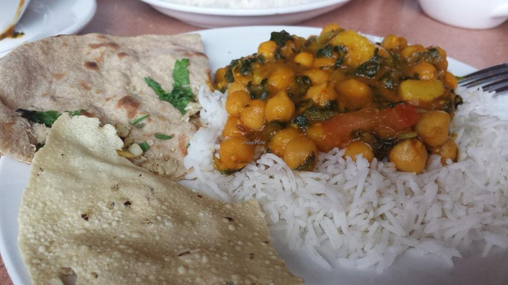 "Photo of Gorkha Palace  by <a href=""/members/profile/EverydayTastiness"">EverydayTastiness</a> <br/>channa saag and garlic roti <br/> September 12, 2014  - <a href='/contact/abuse/image/28322/79738'>Report</a>"