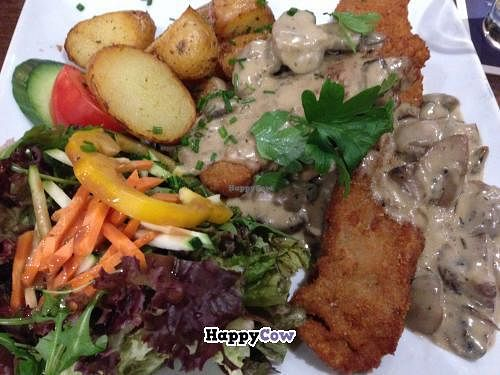 """Photo of Ecco  by <a href=""""/members/profile/Tofuschnecke"""">Tofuschnecke</a> <br/>Seitan-Schnitzel ('Hunter Style') with roasted potatoes and salad <br/> December 22, 2013  - <a href='/contact/abuse/image/28383/60690'>Report</a>"""